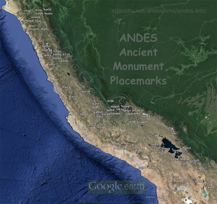 Andes ancient monuments map.