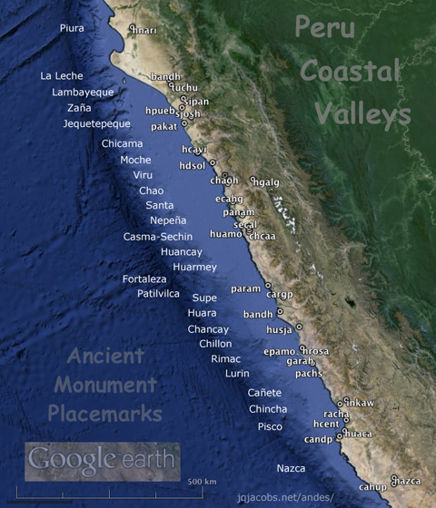 Peru Coastal valleys map.