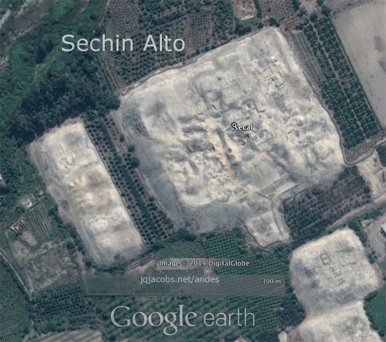Sechin Alto main mound, at 44m high by 300m by 250m (note 300m scale line),  is the largest single construction in the New World during the Initial period.