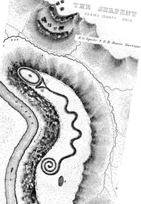 Serpent Mound drawing by Squier