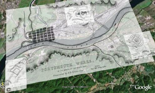 Google Earth placemarks with image links and overlays using archaeological survey maps.