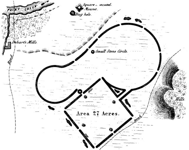 The Squier and Davis survey map of Baum Earthworks.