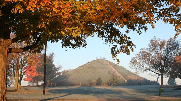 miamisburg mound at sunrise with fall colors
