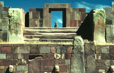 kalasasaya entrnce and sunken court at tiwanaku