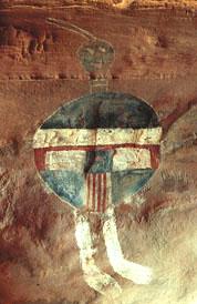 All-American Man pictograph on Salt Creek, CNP, 274 x 178 pixels, 26 K.