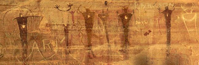 Buckhorn Wash anthropomorph group, 213 x 648 pixels, 37 K.