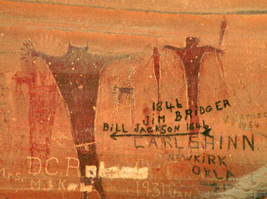 Buckhorn Wash anthropomorph group with historic names overlaid, 283 x 381 pixels, 33 K.