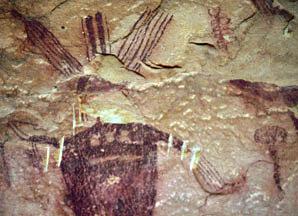 Detail of Sego Canyon pictograph panel, 216 x 298 pixels, 30 K.