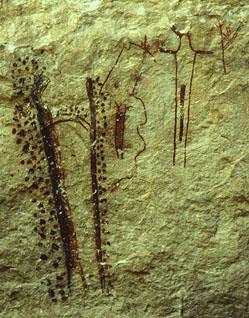 Presa Cave pictograph panel, 318 x 249 pixels, 48 K.