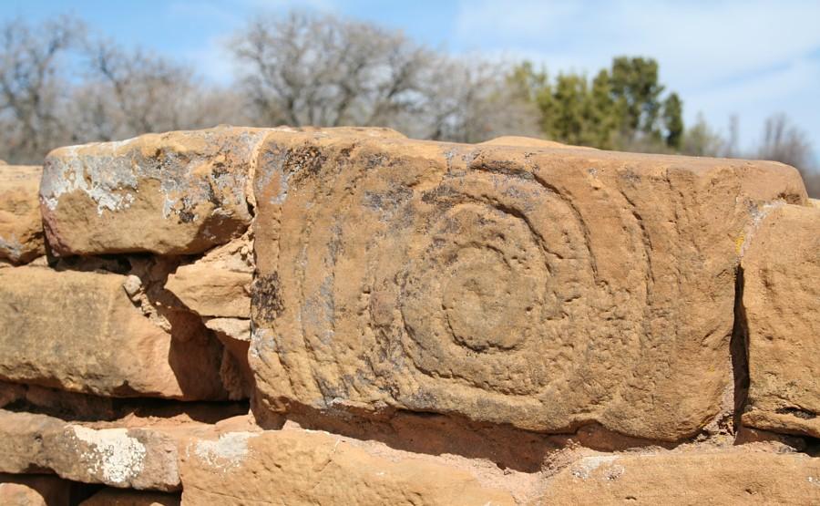 Mesa Verde Sandstone Rock Mortar : Far view village pueblos on mesa verde